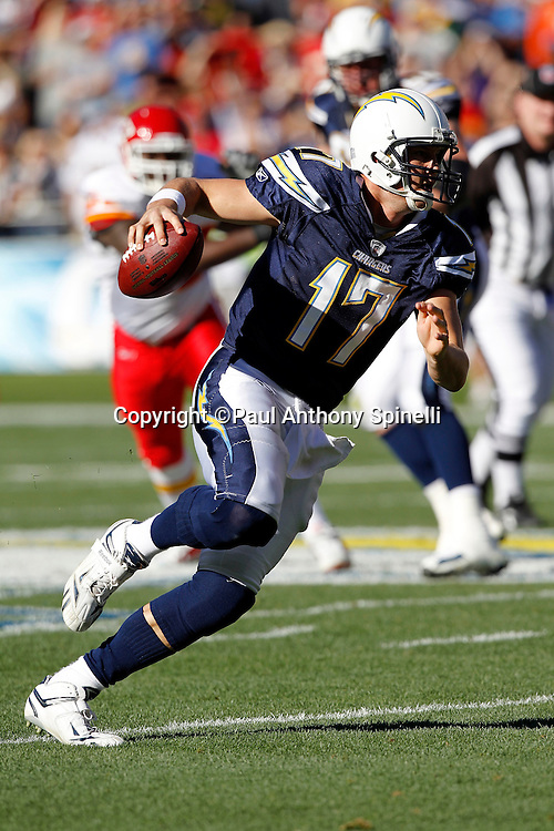 San Diego Chargers quarterback Philip Rivers (17) runs for a first quarter first down during the NFL week 14 football game against the Kansas City Chiefs on Sunday, December 12, 2010 in San Diego, California. The Chargers won the game 31-0. (©Paul Anthony Spinelli)