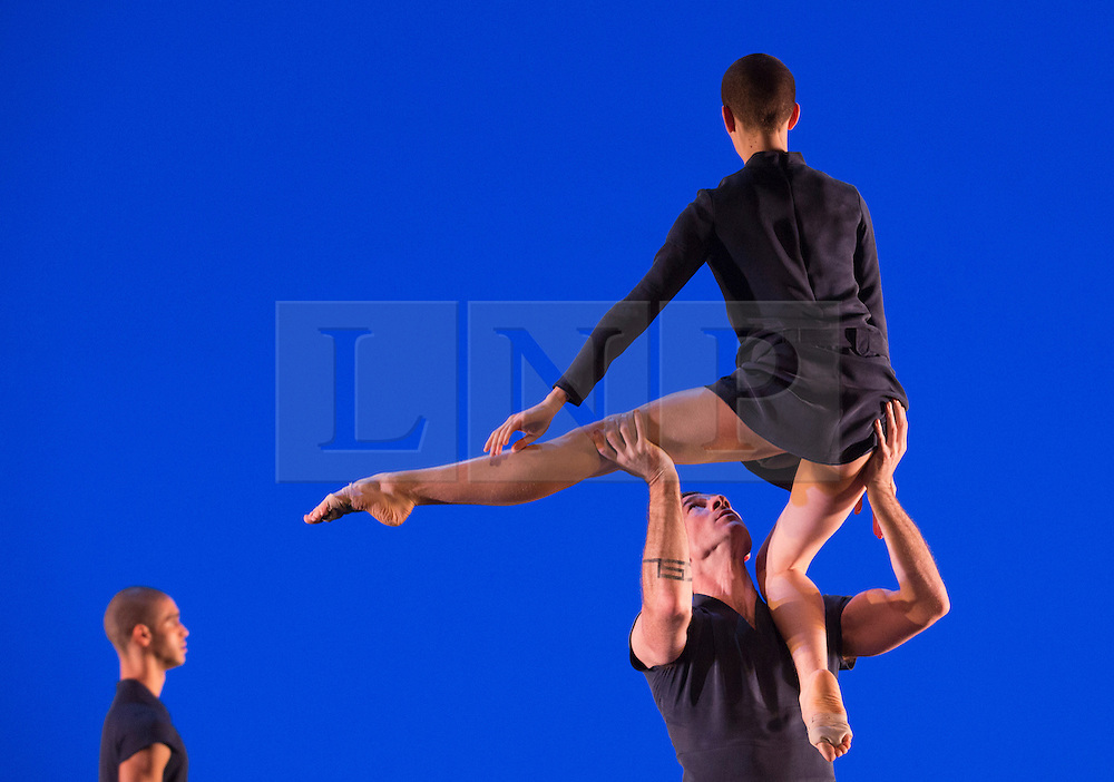 © Licensed to London News Pictures. 17/10/2012. London, England. L-R: Harry Alexander, Jonathan Ollivier and Julie Cunningham. Barbican Artistic Associate Michael Clark Company return to the Barbican Theatre from 17 to 27 October 2012 with a double bill of new work choreographed to music by Scritti Politti and Relaxed Muscle.  Photo credit: Bettina Strenske/LNP