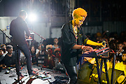 Denitia and Sene performing at the Red Bull Sound Select at Rough Trade in New York City on July 15, 2014.
