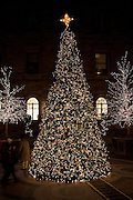 The Christmas tree in the courtyard of the New York Palace Hotel.