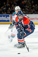 KELOWNA, CANADA -FEBRUARY 1: Jake Kryski #7 of the Kamloops Blazers skates with the puck against the Kelowna Rockets on February 1, 2014 at Prospera Place in Kelowna, British Columbia, Canada.   (Photo by Marissa Baecker/Getty Images)  *** Local Caption *** Jake Kryski;