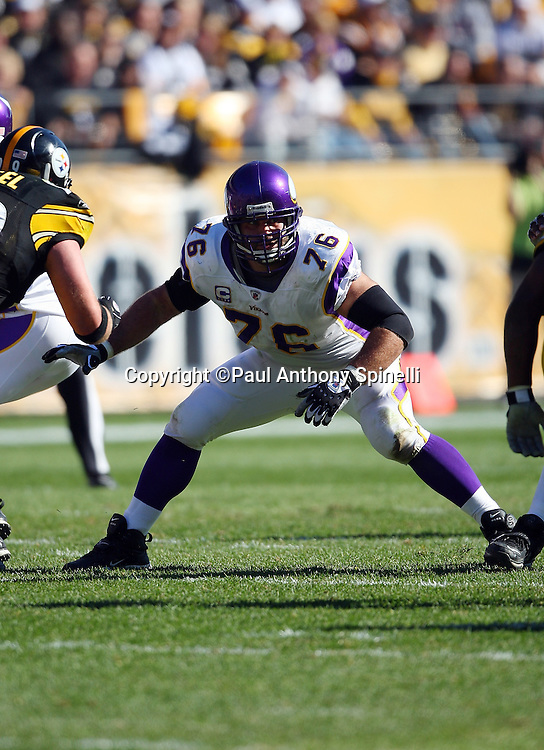 Minnesota Vikings guard Steve Hutchinson (76) pass blocks during the NFL football game against the Pittsburgh Steelers, October 25, 2009 in Pittsburgh, Pennsylvania. The Steelers won the game 27-17. (©Paul Anthony Spinelli)