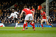 Fulham forward Sheyi Ojo (19) has a shot on goal during the EFL Sky Bet Championship match between Fulham and Barnsley at Craven Cottage, London, England on 23 December 2017. Photo by Andy Walter.