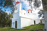Whitewashed Greek Orthodox church at Nimfes, Nymfes, in Northern Corfu,  Greece