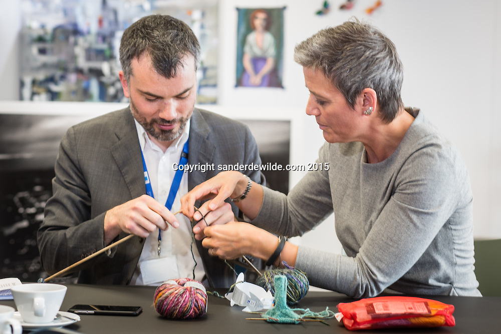 EU-Commisioner Margrethe Vestager who knits elephants and explains reporter Andre Tauber how it works.