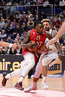 Real Madrid's Jeffery Taylor and EA7 Emporio Armani Milan's Rakim Sanders during Turkish Airlines Euroleage match between Real Madrid and EA7 Emporio Armani Milan at Wizink Center in Madrid, Spain. January 27, 2017. (ALTERPHOTOS/BorjaB.Hojas)