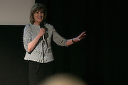 Democrat & Chronicle Editor and VP of News Karen Magnuson speaks before the recording of the final episode of Finding Tammy Jo at The Little Theatre in Rochester on Monday, June 13, 2016.