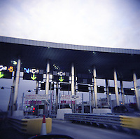 Toll booths at toll road in Ireland