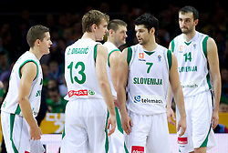 Jaka Lakovic of Slovenia, Zoran Dragic of Slovenia, Goran Jagodnik of Slovenia, Saso Ozbolt of Slovenia and Mirza Begic of Slovenia during basketball game between National basketball teams of Slovenia and Serbia in 7th place game of FIBA Europe Eurobasket Lithuania 2011, on September 17, 2011, in Arena Zalgirio, Kaunas, Lithuania. Slovenia defeated Serbia 72 - 68 and placed 7th. (Photo by Vid Ponikvar / Sportida)