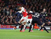 Arsenal striker Alexis Sanchez trying a flick out of fifa during the Champions League match between Arsenal and Dinamo Zagreb at the Emirates Stadium, London, England on 24 November 2015. Photo by Matthew Redman.