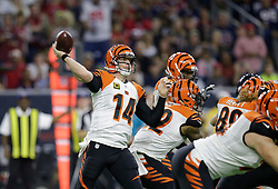 Cincinnati Bengals quarterback Andy Dalton (14) throws a pass against the Houston Texans during the first half of an NFL football game Saturday, Dec. 24, 2016, in Houston. (AP Photo/Sam Craft)