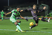 Forest Green Rovers Reece Brown(10) crosses the ball during the EFL Sky Bet League 2 match between Forest Green Rovers and Mansfield Town at the New Lawn, Forest Green, United Kingdom on 29 January 2019.