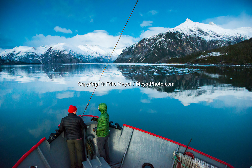 Magallanes, Chile, June 2017. The Luis de Saboya Glacier. On board of expedition ship Forrest we sail to the Francisco Coloane Marine Park where we kayak with Humpback whales and then explore the fjords on to the Sarmiento Channel and several large glaciers. <br /> Covering the stormy southern tip of the Americas, the province of Magallanes is not connected to by road to the rest of Chile. Photo by Frits Meyst / MeystPhoto.com