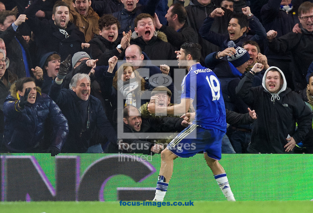 Diego Costa of Chelsea (19) celebrates after scoring a equaliser during the Barclays Premier League match at Stamford Bridge, London<br /> Picture by Alan Stanford/Focus Images Ltd +44 7915 056117<br /> 07/02/2016