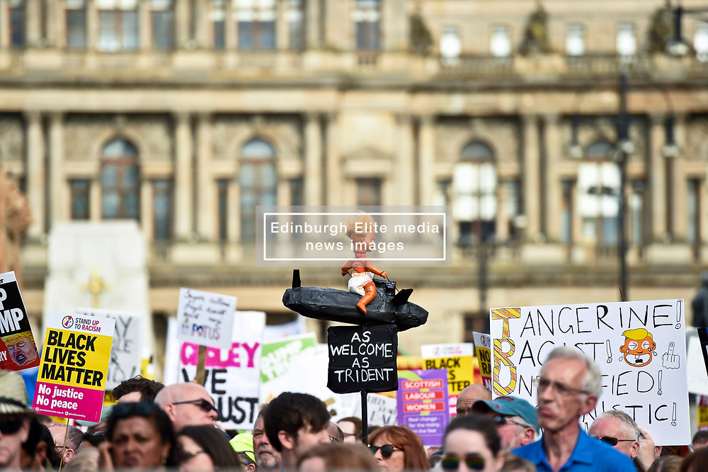 Protest in Glasgow against Donald Trump. Demonstrators attend rally in George Square, Glasgow in protest against the visit to Scotland of American President Donald Trump. Angie Isac   EEm, Friday 13 July 2018