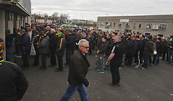 Fans at McHale park for the Mayo v Kerry national football league encounter, the throw-in was delayed by 5 mins to accomadate the late arrivals. Pic Conor McKeown