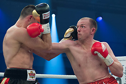 12.03.2016, Jahnsportforum, Neubrandenburg, GER, Boxgala, WBA Weltmeisterschaftskampf, im Bild v.l. Eduard Gutknecht (Germany) und Juergen Braehmer (Germany) WBA Light Heavyweight World Championship // during the WBA Light Heavyweight World Championship Boxgala at the Jahnsportforum in Neubrandenburg, Germany on 2016/03/12. EXPA Pictures © 2016, PhotoCredit: EXPA/ Eibner-Pressefoto/ Koch<br /> <br /> *****ATTENTION - OUT of GER*****