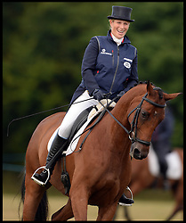 A pregnant Zara Phillips ridding her horse High Kingdom in the guinea pig test for the judges in the Dessage event at the Festival of British Eventing at <br />