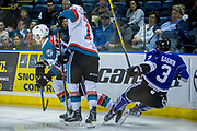 KELOWNA, CANADA - MARCH 11:  Rodney Southam #17 of the Kelowna Rockets, Carsen Twarynski #18 of the Kelowna Rockets, Ryan Gagnon #3 of the Victoria Royals at the Kelowna Rockets game on March 11, 2017 at Prospera Place in Kelowna, British Columbia, Canada.  (Photo By Cindy Rogers/Nyasa Photography,  *** Local Caption ***