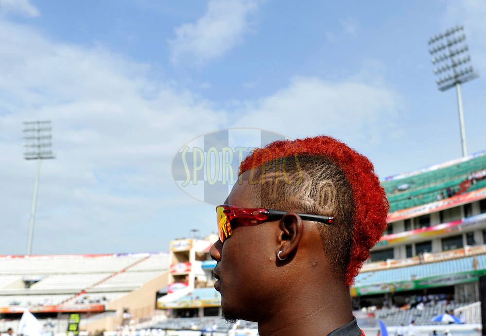 Trinidad & Tobago playerhas a new hair cut with T20 design during the Q1 match between Trinidad & Tobago and Ruhunu Eleven held at the Rajiv Gandhi International Stadium, Hyderabad on the 19th September 2011..Photo by Vipin Pawar/BCCI/SPORTZPICS