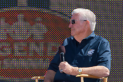June 26, 2011; Sonoma, CA, USA;  NASCAR hall of fame driver Bobby Allison speaks to fans before the Toyota/Save Mart 350 at Infineon Raceway.