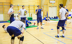 Players with coach Andrea Giani during training camp of Slovenian Volleyball Men Team 1 month before FIVB Volleyball World League tournament in Ljubljana, on May 5, 2016 in Arena Vitranc, Kranjska Gora, Slovenia. Photo by Vid Ponikvar / Sportida