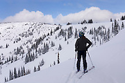 Backcountry skier in Manning Provincvial Park British Columbia Canada