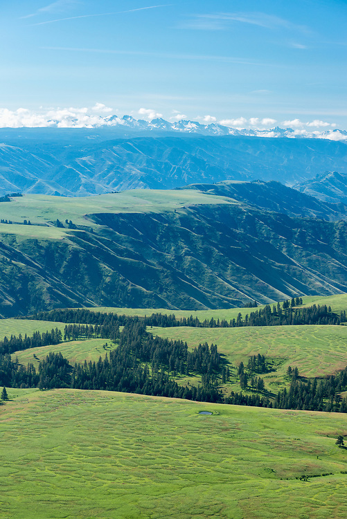 Aerial view of Oregon's Long Ridge and Hells Canyon with Idaho's Seven Devils Mountains in the distance.
