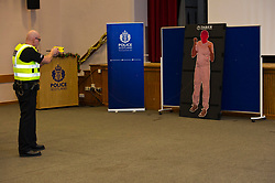 EMBARGOED TILL 16:00 14 DECEMBER 2017<br /> Pictured: Inspector Jim Young demontstrated the Taser X2<br /> <br /> Deputy Chief Constable Johnny Gwynne was at Tullialan Police College today to make an announcement on police officer safety with 500 sadditional officers being trained and deployed with tasers to combat the number of incidents where officers are injured.<br /> <br /> Ger Harley | EEm 14 December 2017