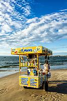 Vendedor ambulante na Praia da Cachoeira do Bom Jesus. Florianópolis, Santa Catarina, Brasil. / Peddler at Cachoeira do Bom Jesus Beach. Florianopolis, Santa Catarina, Brazil.