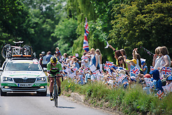Alison Tetrick cheered on to the finish at Aviva Women's Tour 2016 - Stage 1. A 138.5 km road race from Southwold to Norwich, UK on June 15th 2016.