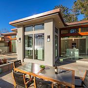 Patrick Edinger of Edinger Architects has given a compact Zapo Street, Del Mar property the Frank Lloyd Wright treatment.