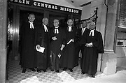 08/06/1963<br /> 06/08/1963<br /> 08 June 1963<br /> Re-dedication of Methodist Church, Abbey Street, Dublin. Attending the reopening and re-dedication of the Church as the new headquarters of the Dublin Central Mission were:  Reverend R.D. Eric Gallagher M.A.; Reverend James Wisheart; Reverend Leslie Davidson B.D.;  Reverend Albert Holland, D.D., Chairman of Dublin District; Mr. Julian(?) W. Squire, architect and Reverend Hugh Allen, Superintenent Minister.