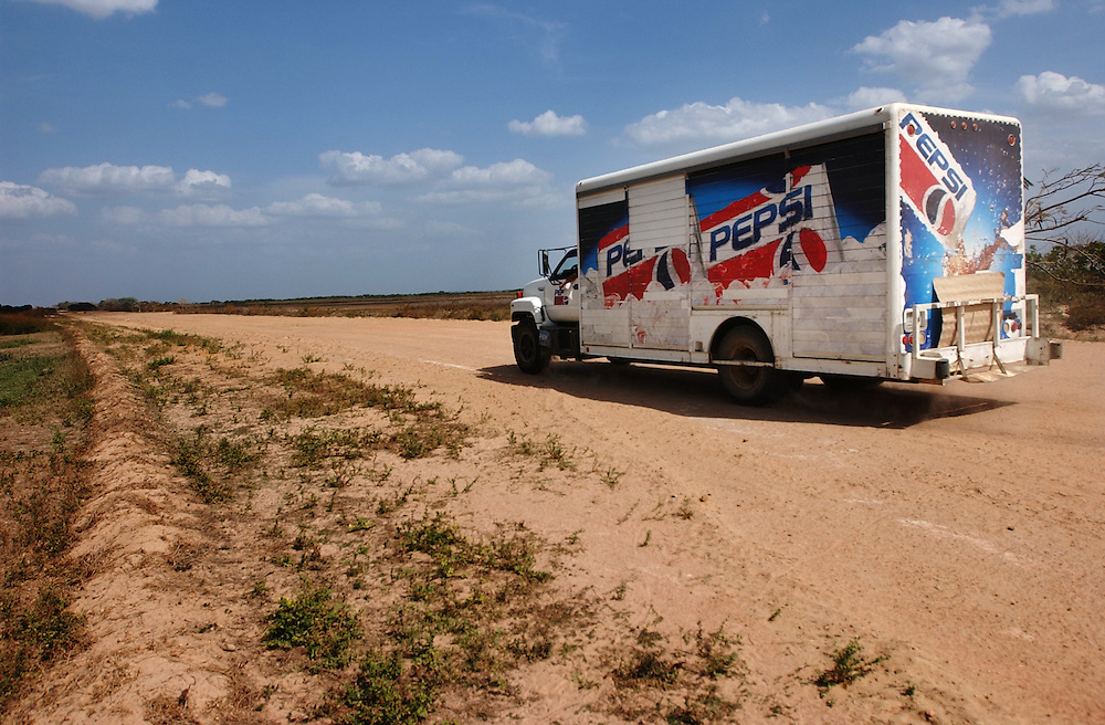 A Pepsi truck in the middle of nowhere on a road in Venezuela