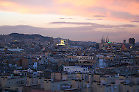 Evening rooftop view of Barcelona City, Spain<br />
