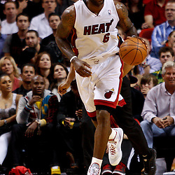 March 3, 2011; Miami, FL, USA; Miami Heat small forward LeBron James (6) during a game against the Orlando Magic at the American Airlines Arena. The Magic defeated the Heat 99-96.    Mandatory Credit: Derick E. Hingle