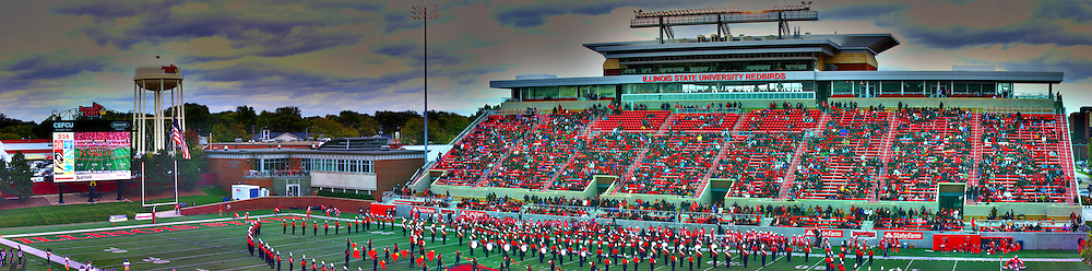 04 October 2014: An artistic stitched panoramic of the east stands that were newly rebuilt in 2013 during an NCAA FCS Missouri Valley Football Conference game between the South Dakota State Jackrabbits and the Illinois State University Redbirds at Hancock Stadium in Normal Illinois This image was produced in part utilizing High Dynamic Range (HDR) or panoramic stitching or other computer software manipulation processes. It should not be used editorially without being listed as an illustration or with a disclaimer. It may or may not be an accurate representation of the scene as originally photographed and the finished image is the creation of the photographer.