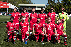 NEWTOWN, WALES - Sunday, May 6, 2018: Connahs Quay Nomads line up for a group team photograph before the FAW Welsh Cup Final between Aberystwyth Town and Connahs Quay Nomads at Latham Park. (Pic by Paul Greenwood/Propaganda)