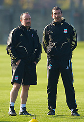 LIVERPOOL, ENGLAND - Monday, November 3, 2008: Liverpool's manager Rafael Benitez and fitness coach Gonzalo Rodriguez during training at Melwood ahead of the UEFA Champions League Group D match against Club Atletico de Madrid. (Photo by David Rawcliffe/Propaganda)