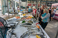 Fish counter, St George's Market, Belfast, N Ireland, UK, August, 2019, 201908241241<br />