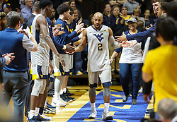 Feb 26, 2018; Morgantown, WV, USA; West Virginia Mountaineers guard Jevon Carter (2) walks out during senior night ceremonies before their game against the Texas Tech Red Raiders at WVU Coliseum. Mandatory Credit: Ben Queen-USA TODAY Sports