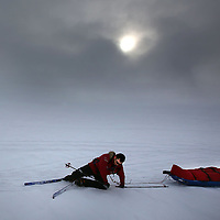 A member of the Walking With The Wounded team falls during training on the Langiokull Glacier, Iceland three teams are getting ready to take on the South Pole Allied Challenge Expedition.Photograph David Cheskin.Press Association.