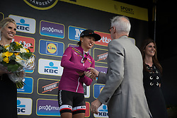 Coryn Rivera of Team Sunweb receives UCI President Brian Cookson's congratulations as the new leader of the Women's World Tour after the Ronde Van Vlaanderen - a 153.2 km road race, starting and finishing in Oudenaarde on April 2, 2017, in East Flanders, Belgium.