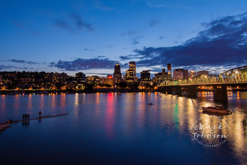 Night photo from the Eastbank Esplanade of the Willamette River & Downtown Portland, Oregon, USA