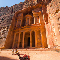 """The Treasury"" or Al-Khazneh was built as a mausoleum and crypt in the 1st century AD.  It was featured in the movie ""Indiana Jones and the Last Crusade"" as the resting place of the Holy Grail."