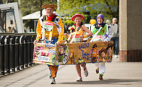 Virgin Money London Marathon 2015<br /> <br /> Guinness World Record attempt!<br /> Andy Church, Heather Smith and Laura Jones from Witney Oxen in the UK attempting to break the world record for fastest Marathon in a three person costume.<br /> <br /> Photo: Bob Martin for Virgin Money London Marathon<br /> <br /> This photograph is supplied free to use by London Marathon/Virgin Money.