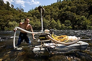 Kevin takes his Dredger from to the river to look for gold..Kevin is a prospector that want to be a professional miner, Kevin drive a cross the USA for looking for gold in California..Thursday July 27.2009