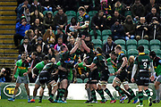 Northampton Saints back row Jamie Gibson (7) wins a line out during the Gallagher Premiership Rugby match between Northampton Saints and Harlequins at Franklins Gardens, Northampton, United Kingdom on 1 November 2019.