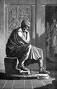 Aristotle  (384-322 BC) Ancient Greek philosopher and scientist.  Engraving after an antique statue.