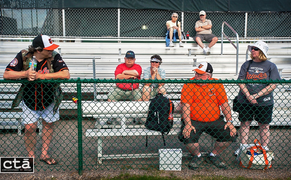 On the first day of workouts for pitchers and catchers, a smattering of fans watch the Orioles practice on Field 4 as clouds obscure the usually sunny weather.